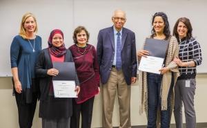 Esmail and Safana Bharwani present awards to CRTP Students